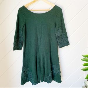 Beautiful jewel tone green ANTHRO dress w/ lace